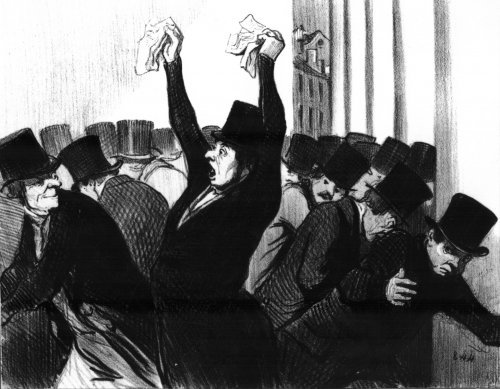 Honoré Daumier, A Panic at the Stock Exchange, 1845
